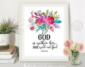 """Printable Wall Art digital download Bible verse inspirational Scripture Print home decor """"GOD is within her she will not fall"""" ArtCult"""