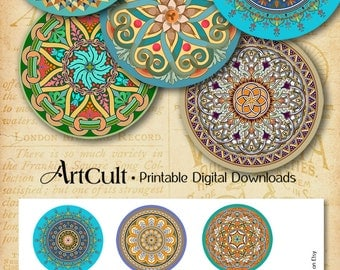 Printable Download ORIENTAL MANDALAS 2.5 inch size Spiritual images Digital Collage Sheet for Pocket Mirrors Magnets Paper Weights ArtCult