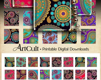 Printable download PAISLEY ORNAMENTS Digital Collage Sheet 1x1 inch and 1.5x1.5 inch size square images for pendants bezel trays magnets
