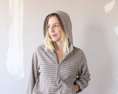 Latte striped Hooded Sweater