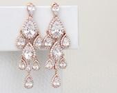 Rose Gold Chandelier earrings, Rose Gold Bridal earrings, Wedding earrings, Crystal earrings, Bridal jewelry, Long Bridal earrings