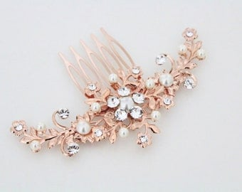 Rose Gold Hair comb, Wedding hair comb, Rose Gold headpiece, Wedding headpiece, Rhinestone hair comb, Floral headpiece, Swarovski crystal