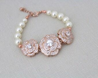 Rose Gold Bracelet, Bridal bracelet, Wedding jewelry, Pearl bracelet, Crystal bracelet, Cuff bracelet, Rhinestone bracelet, Swarovski BELLA