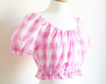 Gingham Peasant Top, Off the Shoulder Top, Pin Up Girl Top, Gingham Crop Top, Vintage Top, Retro Clothing, Rockabilly Top, Gingham Lingerie