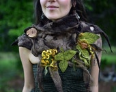 RESERVED - Felt Melted Woodland Leaf And Tree Roots Pixie Nymph Cowl Neck Warmer Shawl OOAK