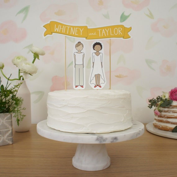 Wedding Cake Topper Set - Custom Cake Banner No. 1 / Bride and/or Groom Cake Toppers