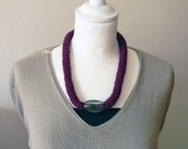 Wool necklace - Big necklace - Chunky necklace - Winter jewelry - Statement necklace - Burgundy - Gift for woman.