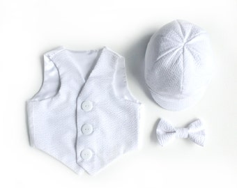 Christening Outfit Add-Ons | White Seersucker Baptismal Hat Vest Bowtie | Baby Boy Infant Boys Toddler Baptism Accessories Set