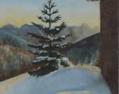 mountain scenery sunset oil painting
