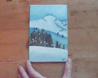 snow mountain landscape  alla prima oil painting 6x4 mini art wall decoration cottage
