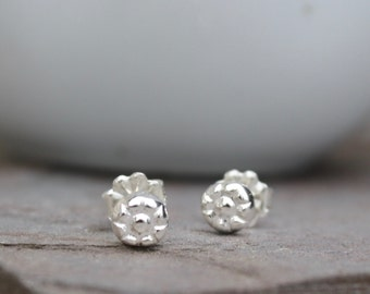 Tiny solid Sterling Silver Flower Ear Studs, Posts