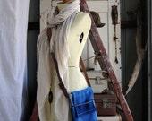 Repurposed Blanket Mini Messenger Tote in Deep Blues w Medium Brown and Blue Kangaroo Leather features