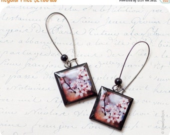 sakura earrings - Cherry Blossom earrings - pink flower earrings - sakura jewelry - Flower jewelry  (E002)