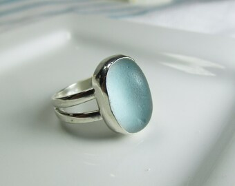 Pale Baby Blue Sea Glass Ring, Beach Glass Ring, Blue Ring, Sea Glass