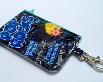 UPCYCLED Pop Rocks candy bag RECYCLED into change/coin purse with key ring clasp