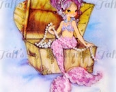 Vintage Mermaid on Treasure Chest  Digital Downloads for fabric transfer decoupage ocean fish mermaid image mermaid card picture clipart
