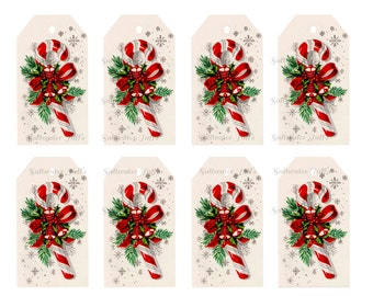 Christmas Candy Cane Tags DIY Digital Download vintage printable gift tag card holiday xmas christmas gift tags peppermint stripe festive