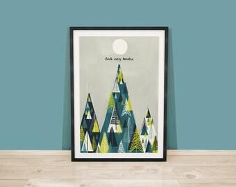 Climb Every Mountain Digital Art Print / Mountain Scape / Mountain Illustration / Tree Illustration / Digital Wall Art / Fathers Day Gift