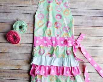 Donuts---Women's Full apron with ruffle skirt