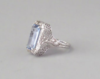 Art Deco Filigree Peacock Ring. Synthetic Blue Spinel. 5.25