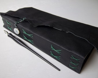 watercolor journal, soft black goatskin leather wrap cover, 300g watercolor paper, multimedia cotton paper