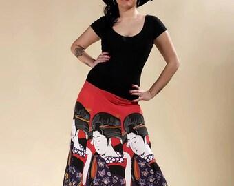"""Long SKIRT """" One summer to Kyoto """", skirt geisha, Japanese skirt, Japanese skirt"""