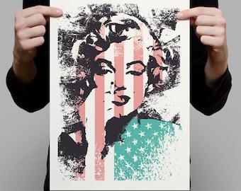 Marilyn Monroe / Stars & Bars A3 Artprint