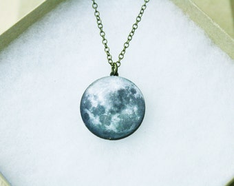 Moon Necklace / Laser Cut Wood / Space Galaxy / SAMPLE SALE