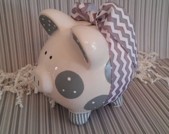 Piggy Bank Gray - Personalized and Hand Painted