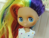 Custom Petite LPS Blythe with Rainbow Rerooted Long Hair and Dress