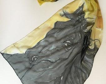 Black horses scarf- Dessert mood/ Hand painted silk chiffon scarf/ Animal scarves/ Summer scarf/ KM1617D