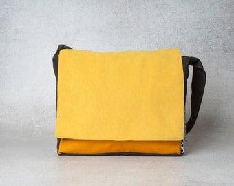 Orange laptop messenger bag, men messenger bag, women shoulder bags ,canvas messenger bag, crossbody bags, college hipster laptop bag
