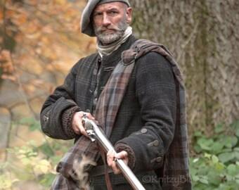 Outlander Scottish Tam Bonnet Dougal, Hand Knit Felted Highlands Wool, 12 Different Colors, Made to Order