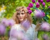 Boho flower crown burgundy blush gold Goddess Bridal hair wreath destination wedding accessories autumn circlet family photo shoot