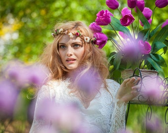 Boho flower crown burgundy blush gold Goddess Bridal hair wreath winter destination wedding accessories spring circlet family photo shoot