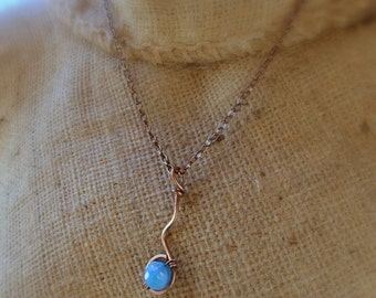 SALE - Hammered Copper Pendant  with Wire Wrapped AB Blue Disco Ball Bead