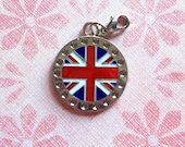 UK British Flag UNION JACK Round Charm with Lobster Claw attachment