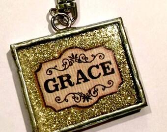 GRACE/MERCY Double sided Soldered Glass Slide Photo Pendant-Religious pendant-Gold Glitter Charm-Silver Glitter charm-Message Pendant