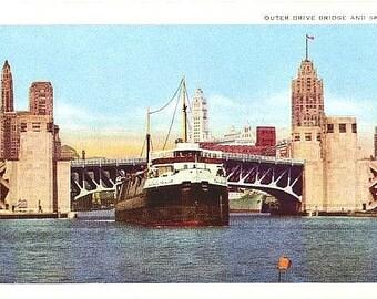 Vintage Chicago Postcard - Outer Drive Bridge (Unused)