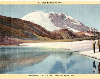 Vintage Washington State Postcard - Frozen Lake and Mount Rainier (Unused)