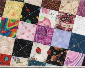 Patchwork Quilted Fabric Postcard