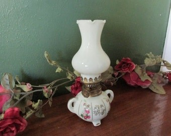 Oil Lamp White Porcelain Milk Glass Chimney Mini Kerosene Light