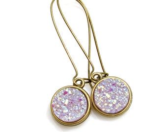 Light Lilac Druzy Earrings Soft Purple Druzy Gold Dangles Bright Sparkle Shimmer Luster Amethyst Everyday High Fashion Style by Mei Faith
