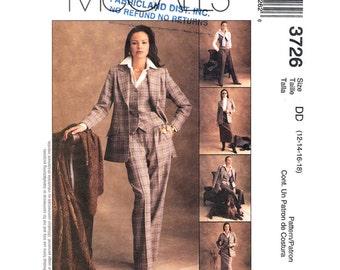 Lined Suit Jacket, Vest, Pants & Skirt Pattern McCalls 3726 Princess Seam Four Piece Suit Waistcoat Trousers Womens Size 12 14 16 18 UNCUT