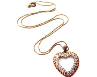Ross Simons Signed 925 China Mixed Metal Gold Vermeil Sterling Silver & Small Diamond Sweetheart Heart Pendant Necklace