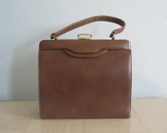 Sleek 50s Brown Leatherette Handbag - Vintage Faux Leather Purse with Gold Clasp - Vintage 1950s Handbag