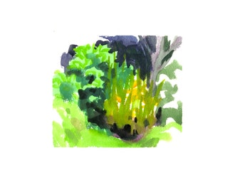 Small pond full of life- original watercolor painting