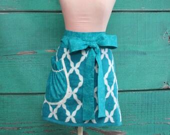 Towel Apron - Shower Hostess Apron - Teal & White Garden Trellis