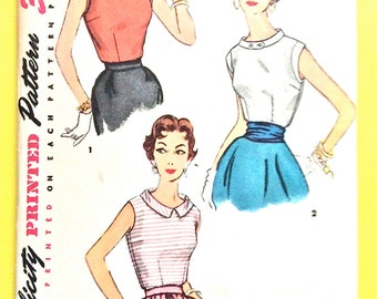 1950s Misses' Blouse Simplicity 4613  dart fitted, sleeveless Vintage Sewing Pattern Bust 30