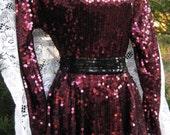 size 8 DARK CHERRY SEQUINED Burgundy dress by high fashion designer Oleg Cassini, peplum skirt 1980s 80s dress